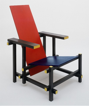 Poltrona rossa e blu lo stile utopico di rietveld art for Sedia da ufficio gialla